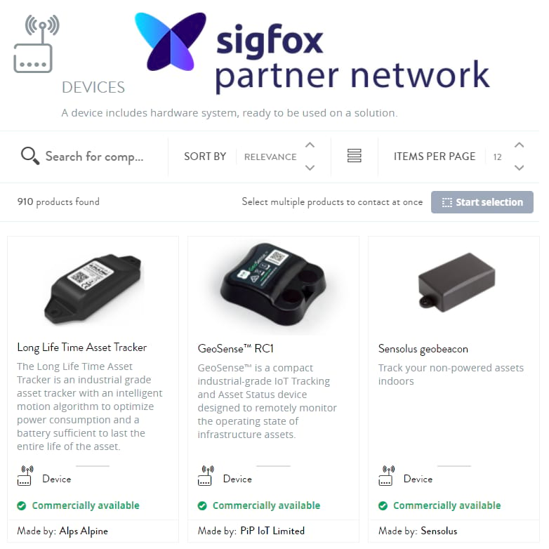 various iot supply chain devices from Sigfox partner network